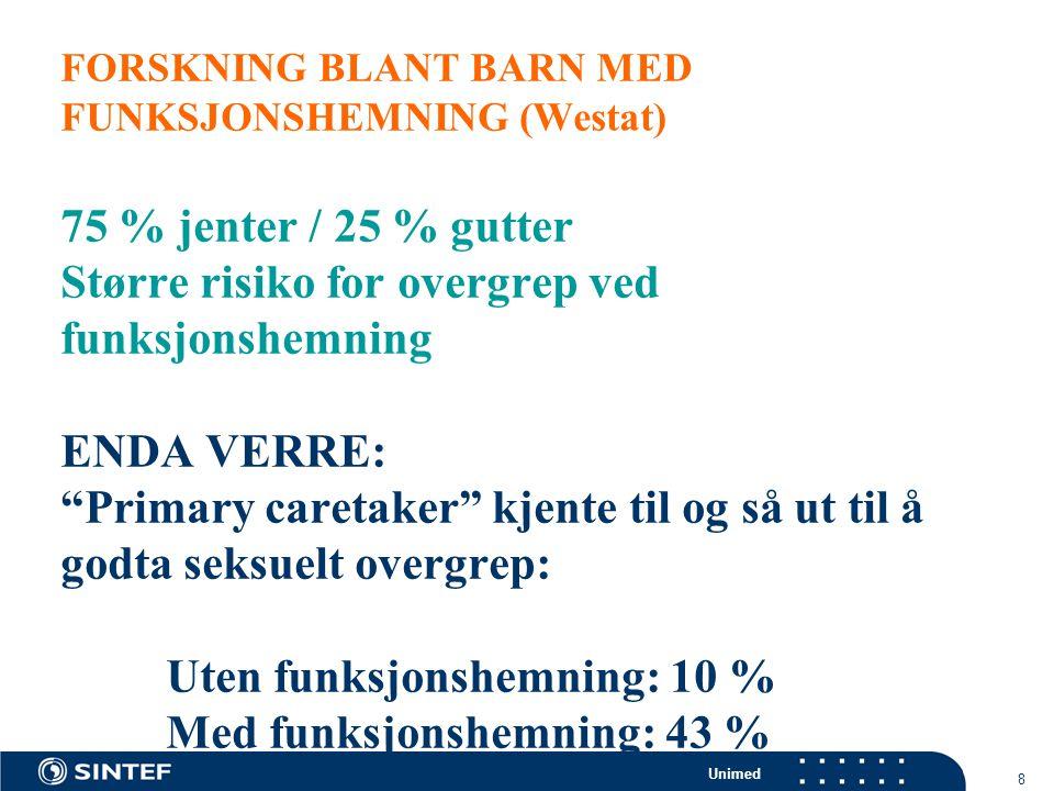 Unimed 19 SYKEHUSUNDERSØKELSEN  Når man tror at barn er utsatt for seksuelle overgrep, blir de undersøkt på et sykehus  Hvis barn med funksjonsvansker oppdages på samme måte som andre barn og hvis risikoen er 2-3 ganger større, vil de prosentvis utgjøre 2-3 ganger antallet norske barn uten funksjonshemning  11 % har en funksjonsvanske, hvorav 4 % en STOR vanske  HYPOTESE:  22 – 33 % (11% x 2 eller 11% 3) en viss grad av vansker på sykehuset  8 – 12 % (4% x 2 eller 4 % x 3) med STORE VANSKER