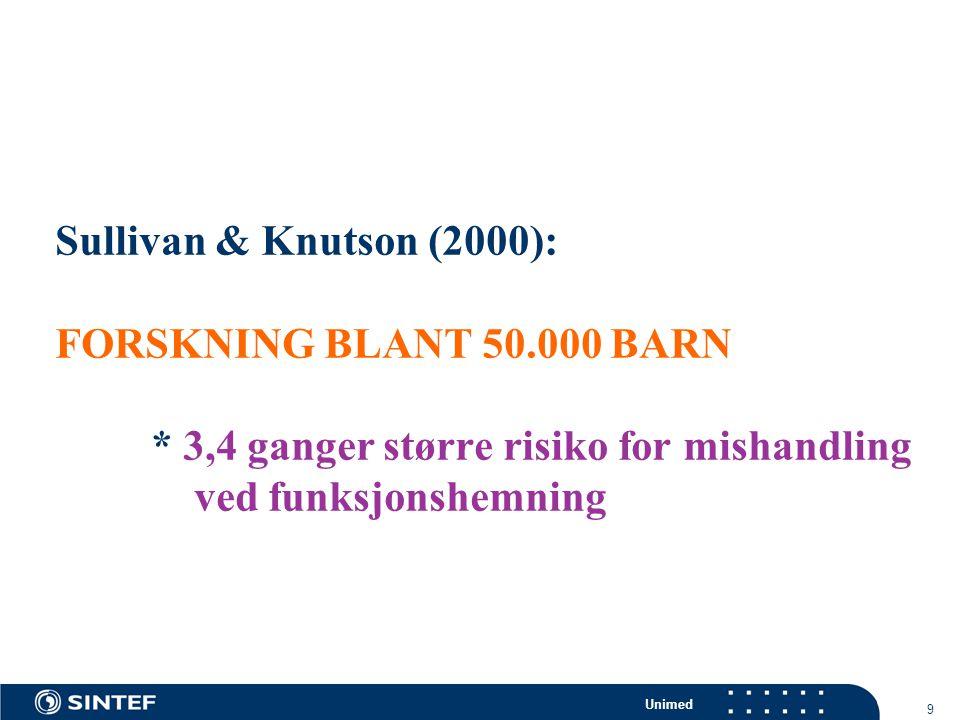 Unimed 9 Sullivan & Knutson (2000): FORSKNING BLANT 50.000 BARN * 3,4 ganger større risiko for mishandling ved funksjonshemning
