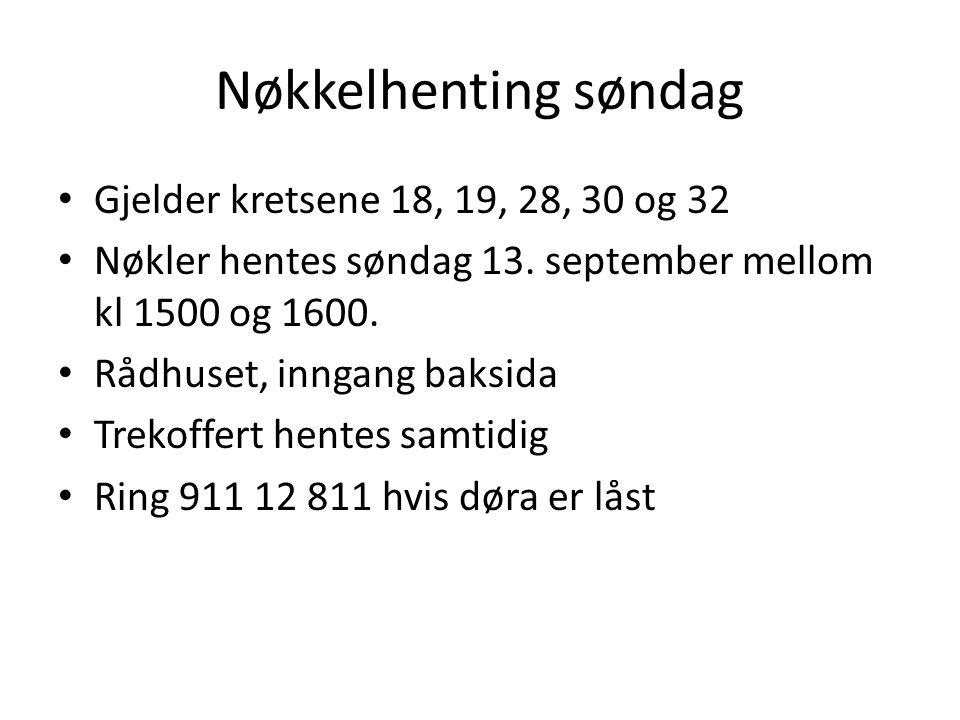 Nøkkelhenting søndag • Gjelder kretsene 18, 19, 28, 30 og 32 • Nøkler hentes søndag 13. september mellom kl 1500 og 1600. • Rådhuset, inngang baksida