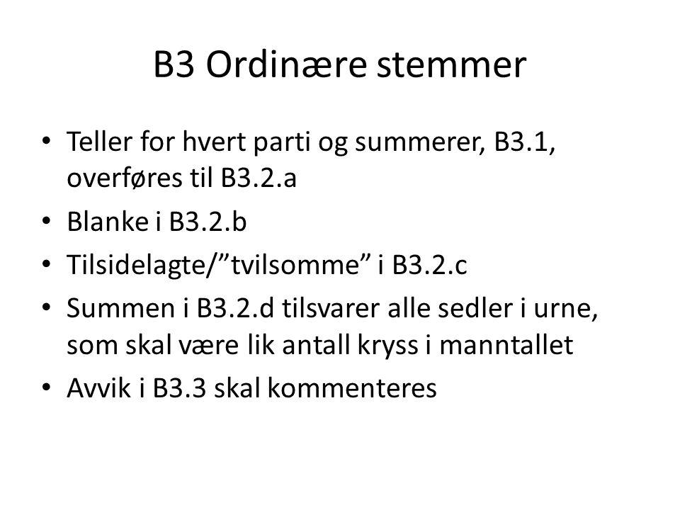 """B3 Ordinære stemmer • Teller for hvert parti og summerer, B3.1, overføres til B3.2.a • Blanke i B3.2.b • Tilsidelagte/""""tvilsomme"""" i B3.2.c • Summen i"""