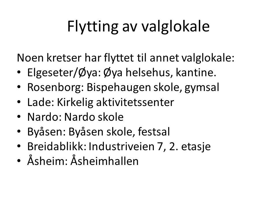 Flytting av valglokale Noen kretser har flyttet til annet valglokale: • Elgeseter/Øya: Øya helsehus, kantine. • Rosenborg: Bispehaugen skole, gymsal •