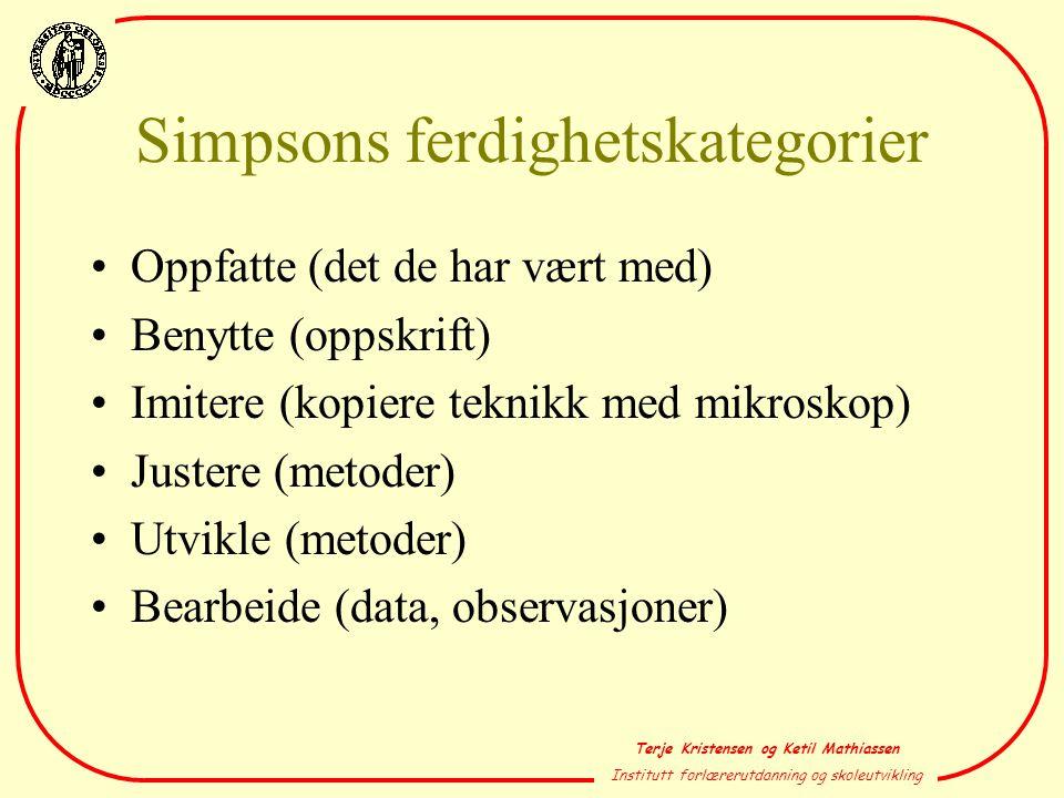 Terje Kristensen og Ketil Mathiassen Institutt forlærerutdanning og skoleutvikling Simpsons ferdighetskategorier •Oppfatte (det de har vært med) •Beny