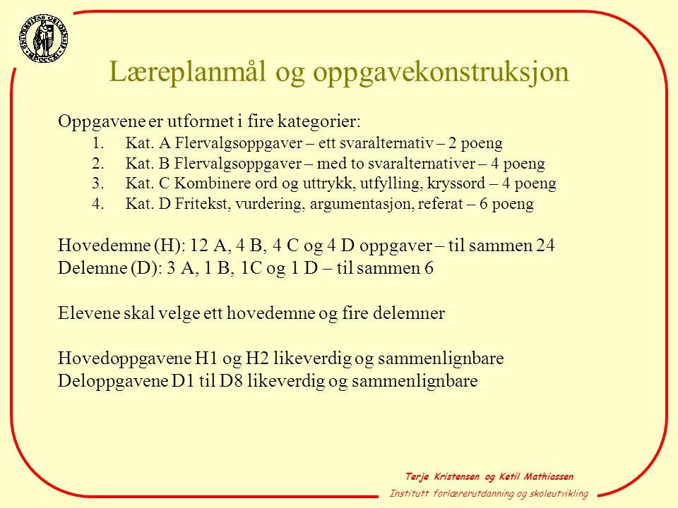 Terje Kristensen og Ketil Mathiassen Institutt forlærerutdanning og skoleutvikling Læreplanmål og oppgavekonstruksjon Oppgavene er utformet i fire kat