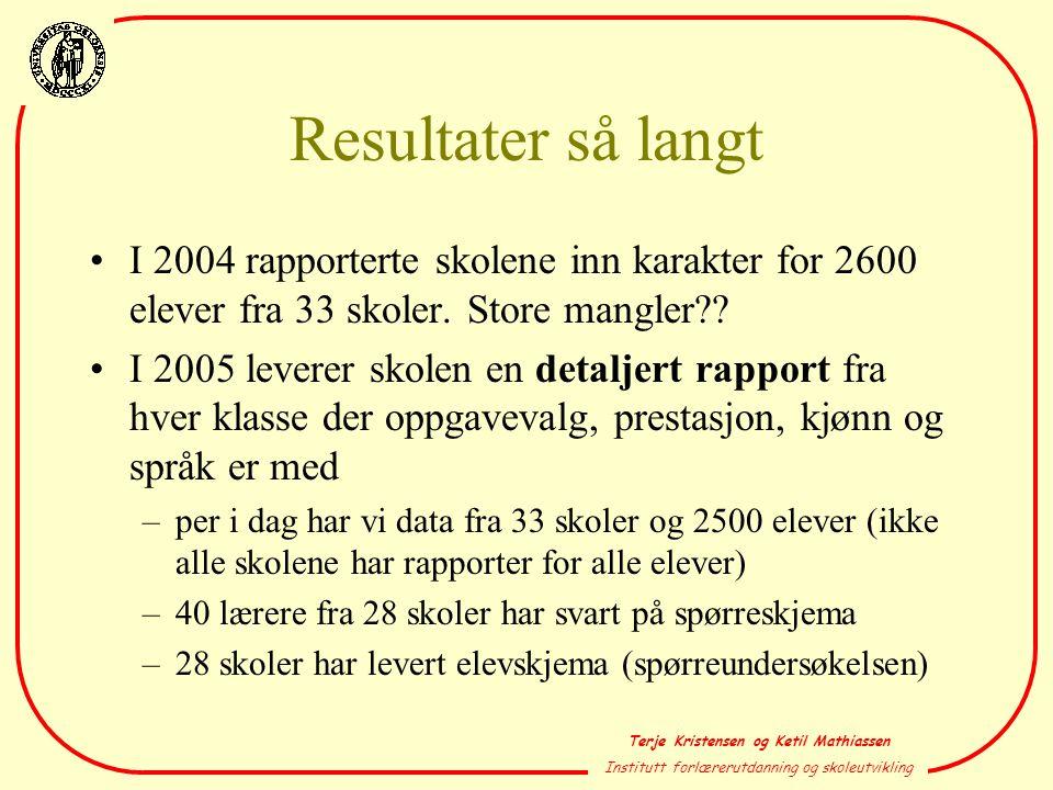 Terje Kristensen og Ketil Mathiassen Institutt forlærerutdanning og skoleutvikling Resultater så langt •I 2004 rapporterte skolene inn karakter for 26