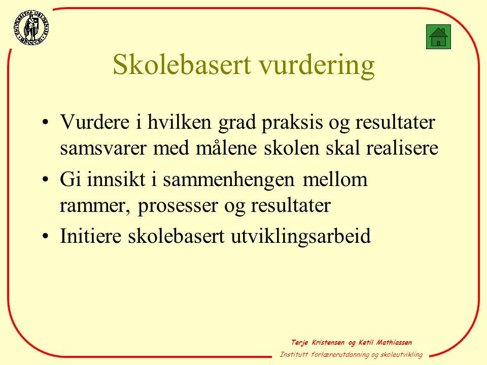 Terje Kristensen og Ketil Mathiassen Institutt forlærerutdanning og skoleutvikling Skolebasert vurdering •Vurdere i hvilken grad praksis og resultater