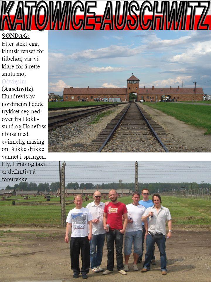 SØNDAG: Etter stekt egg, klinisk renset for tilbehør, var vi klare for å rette snuta mot Oświęcim (Auschwitz).