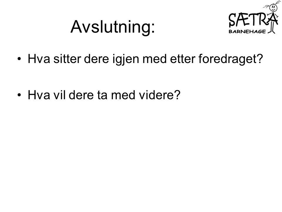 Avslutning: •Hva sitter dere igjen med etter foredraget? •Hva vil dere ta med videre?