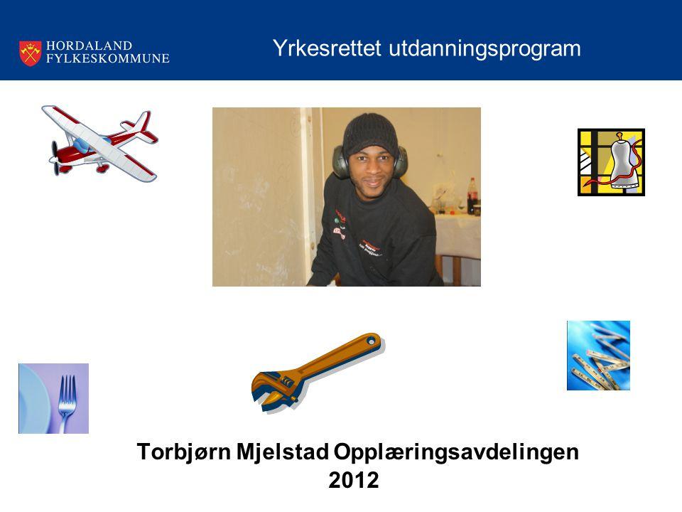 Torbjørn Mjelstad Opplæringsavdelingen 2012 Yrkesrettet utdanningsprogram
