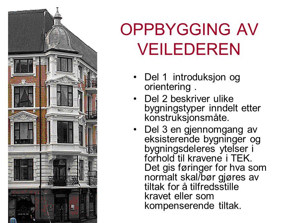 OPPBYGGING AV VEILEDEREN •Del 1 introduksjon og orientering. •Del 2 beskriver ulike bygningstyper inndelt etter konstruksjonsmåte. •Del 3 en gjennomga