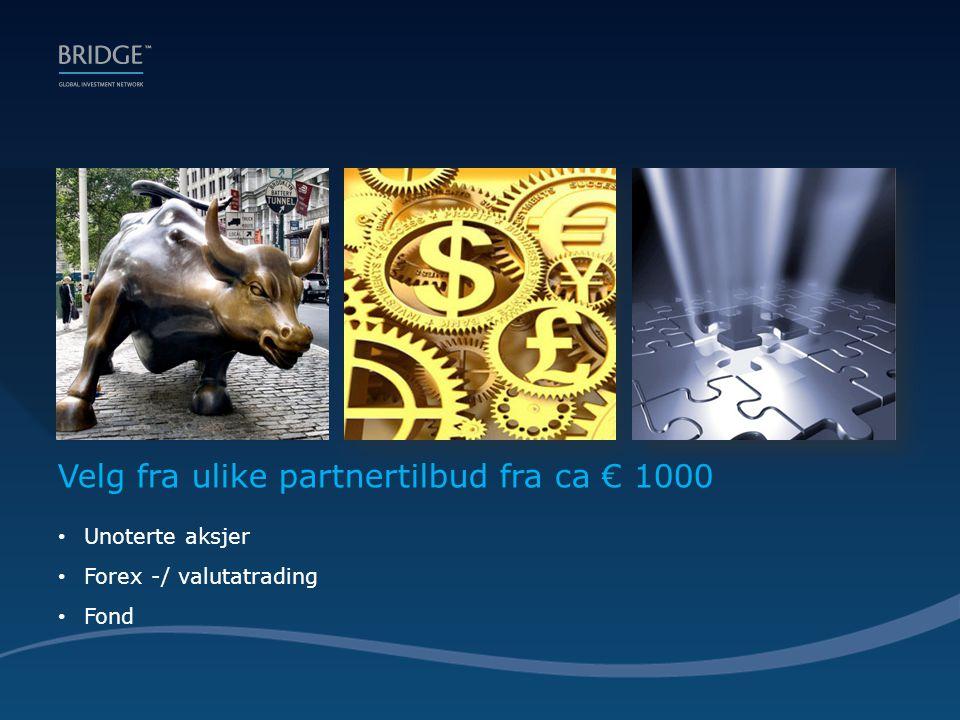 Velg fra ulike partnertilbud fra ca € 1000 • Unoterte aksjer • Forex -/ valutatrading • Fond