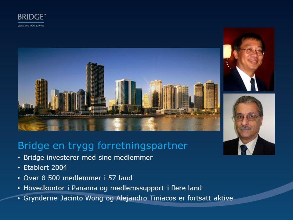 Bridge en trygg forretningspartner • Bridge investerer med sine medlemmer • Etablert 2004 • Over 8 500 medlemmer i 57 land • Hovedkontor i Panama og medlemssupport i flere land • Grynderne Jacinto Wong og Alejandro Tiniacos er fortsatt aktive
