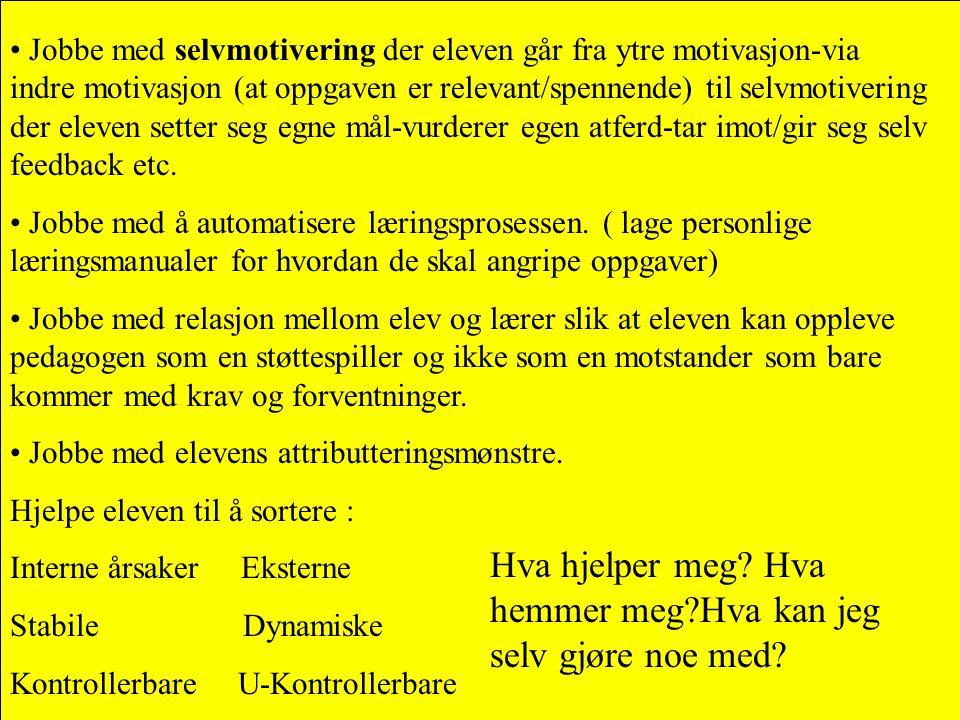 • Jobbe med selvmotivering der eleven går fra ytre motivasjon-via indre motivasjon (at oppgaven er relevant/spennende) til selvmotivering der eleven s