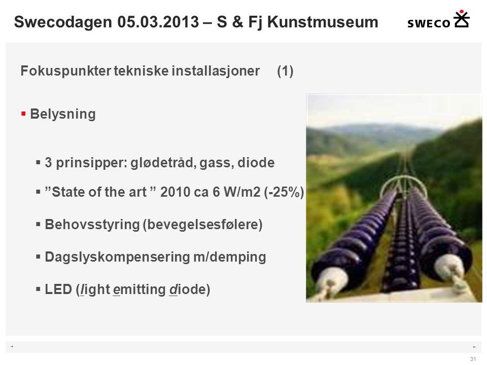 ◄ ► 31 Fokuspunkter tekniske installasjoner (1)  Belysning  3 prinsipper: glødetråd, gass, diode  State of the art 2010 ca 6 W/m2 (-25%)  Behovsstyring (bevegelsesfølere)  Dagslyskompensering m/demping  LED (light emitting diode) Swecodagen 05.03.2013 – S & Fj Kunstmuseum