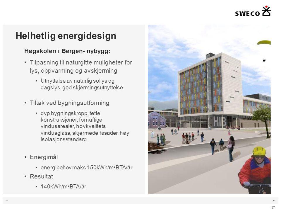 ◄ ► 37 Helhetlig energidesign Høgskolen i Bergen- nybygg: •Tilpasning til naturgitte muligheter for lys, oppvarming og avskjerming •Utnyttelse av naturlig sollys og dagslys, god skjermingsutnyttelse •Tiltak ved bygningsutforming •dyp bygningskropp, tette konstruksjoner, fornuftige vindusarealer, høykvalitets vindusglass, skjermede fasader, høy isolasjonsstandard.
