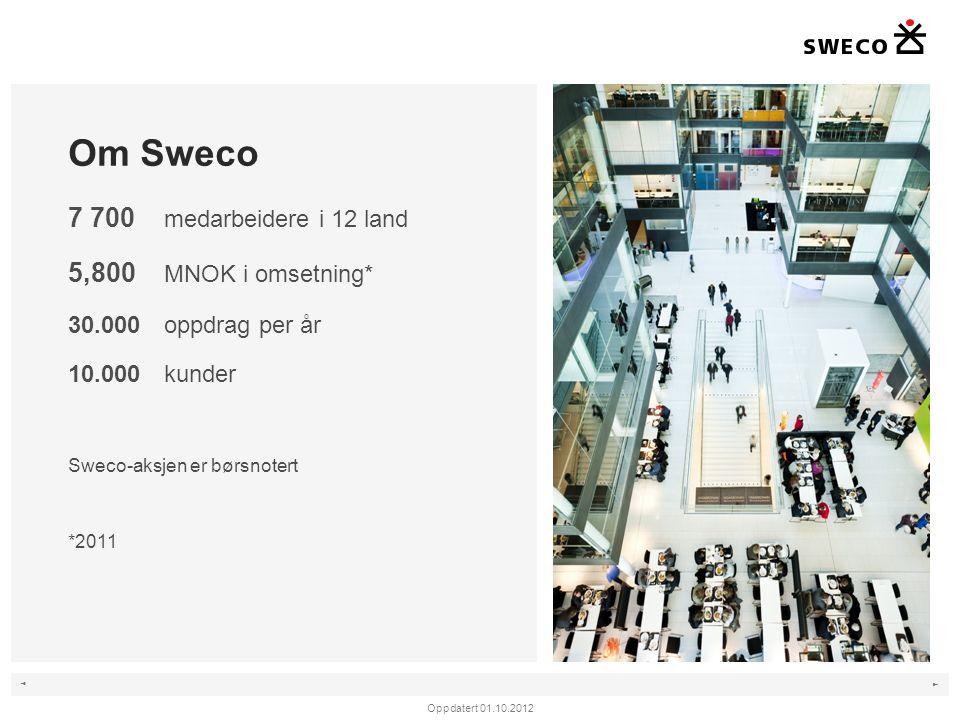 ◄ ► Sweco i Norge •Nærmere 1 100 ansatte •30 kontorsteder •7 500 oppdrag per år •2 000 kunder •Hovedkontor på Lysaker/Oslo Oppdatert 01.10.2012