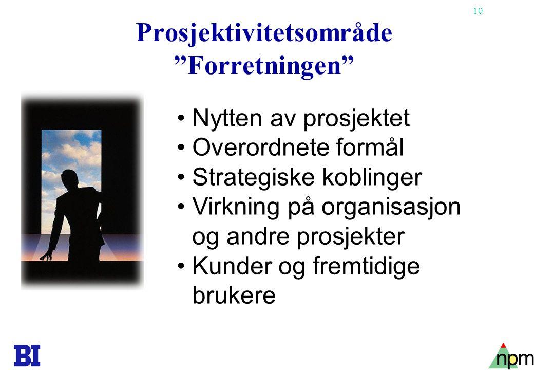 """10 Copyright Tore H. Wiik Prosjektivitetsområde """"Forretningen"""" •Nytten av prosjektet •Overordnete formål •Strategiske koblinger •Virkning på organisas"""
