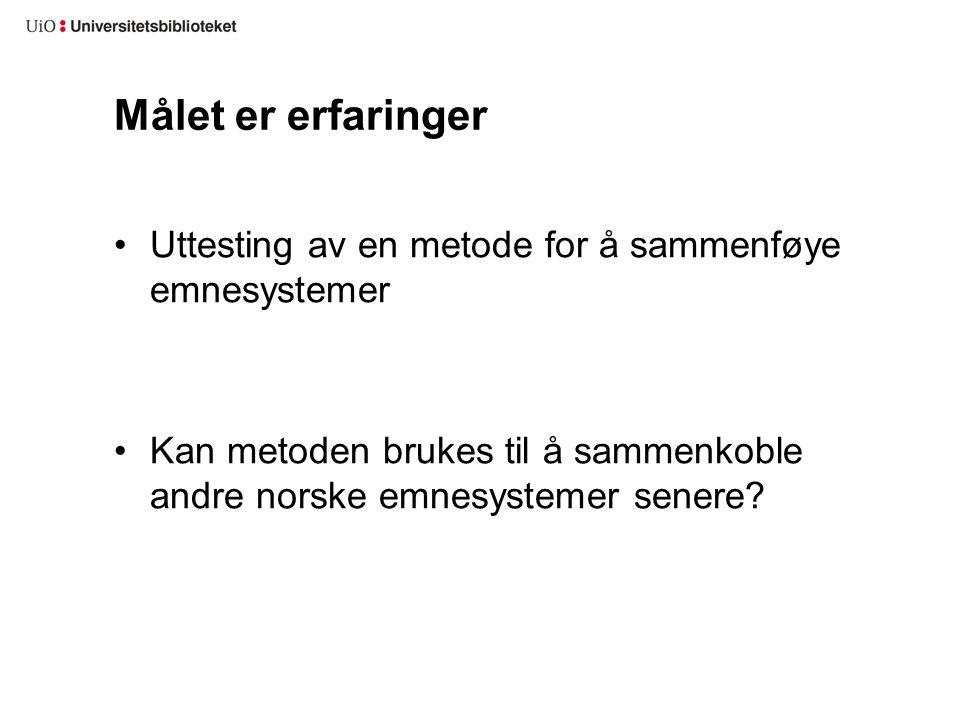 Målet er erfaringer •Uttesting av en metode for å sammenføye emnesystemer •Kan metoden brukes til å sammenkoble andre norske emnesystemer senere?