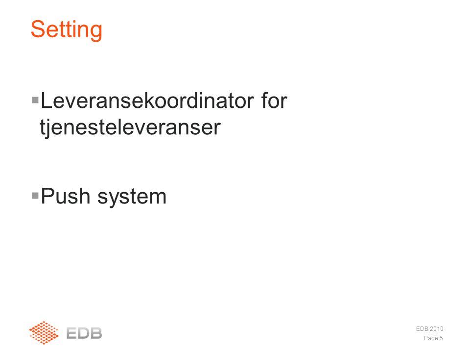  Leveransekoordinator for tjenesteleveranser  Push system Setting EDB 2010 Page 5