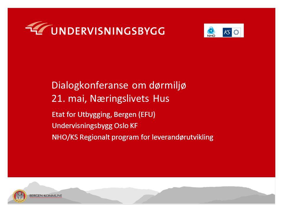 100990 – 1.1 Dialogkonferanse om dørmiljø 21. mai, Næringslivets Hus Etat for Utbygging, Bergen (EFU) Undervisningsbygg Oslo KF NHO/KS Regionalt progr