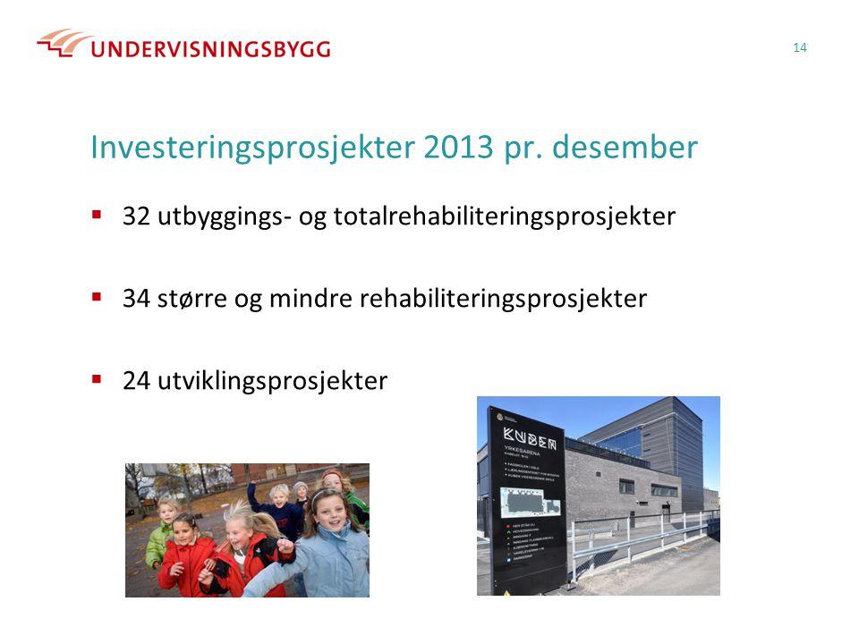 Investeringsprosjekter 2013 pr. desember  32 utbyggings- og totalrehabiliteringsprosjekter  34 større og mindre rehabiliteringsprosjekter  24 utvik