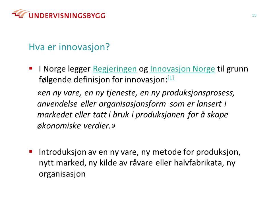 Hva er innovasjon?  I Norge legger Regjeringen og Innovasjon Norge til grunn følgende definisjon for innovasjon: [1]RegjeringenInnovasjon Norge [1] «