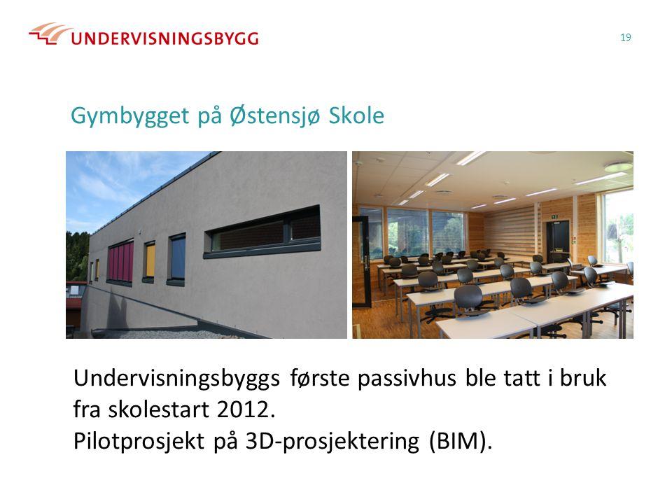 Gymbygget på Østensjø Skole 19 Undervisningsbyggs første passivhus ble tatt i bruk fra skolestart 2012. Pilotprosjekt på 3D-prosjektering (BIM).