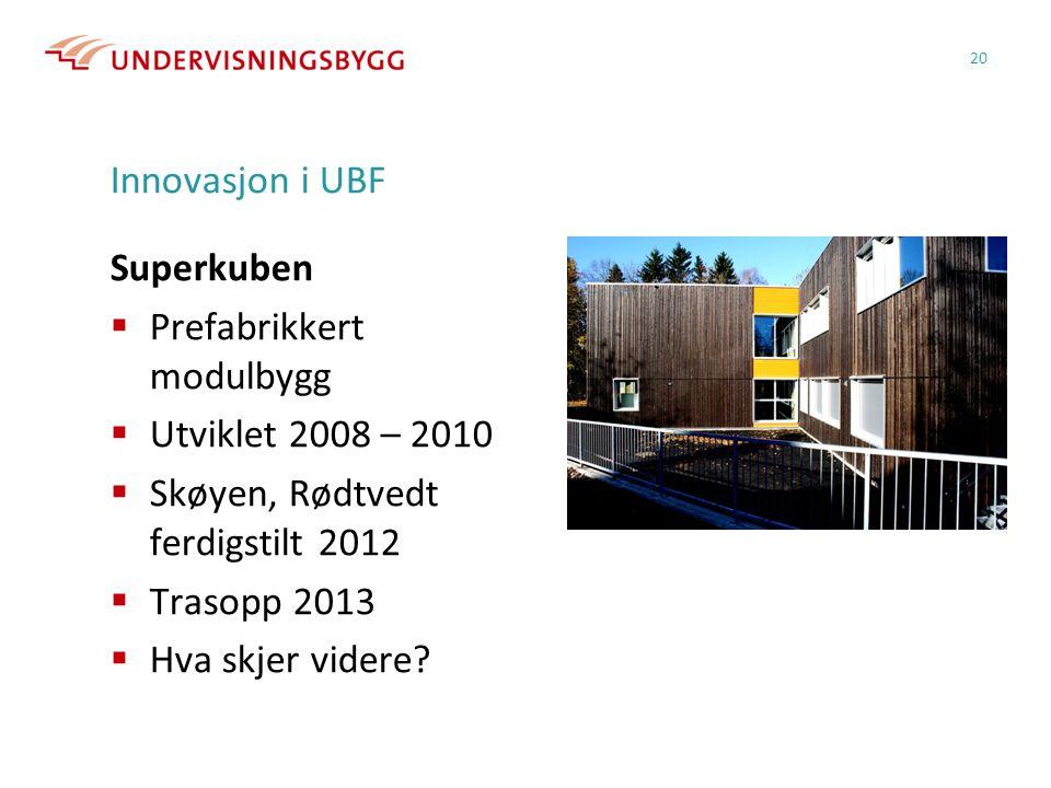 Innovasjon i UBF Superkuben  Prefabrikkert modulbygg  Utviklet 2008 – 2010  Skøyen, Rødtvedt ferdigstilt 2012  Trasopp 2013  Hva skjer videre? 20