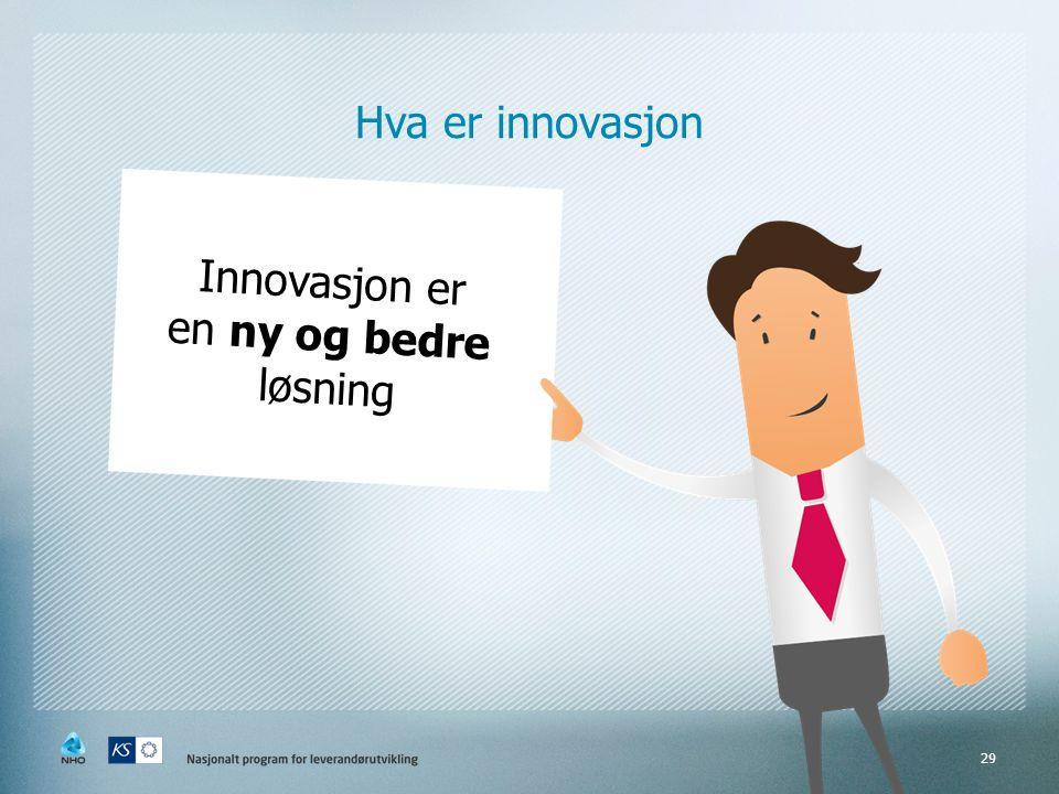 29 Hva er innovasjon Innovasjon er en ny og bedre løsning