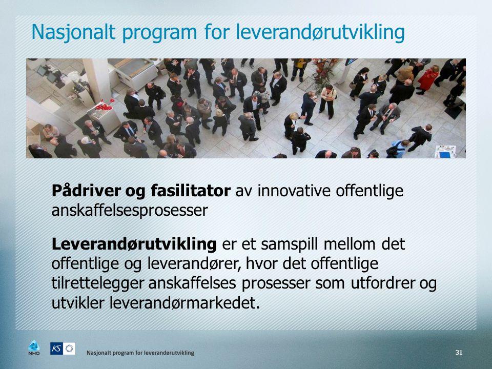 Pådriver og fasilitator av innovative offentlige anskaffelsesprosesser Leverandørutvikling er et samspill mellom det offentlige og leverandører, hvor