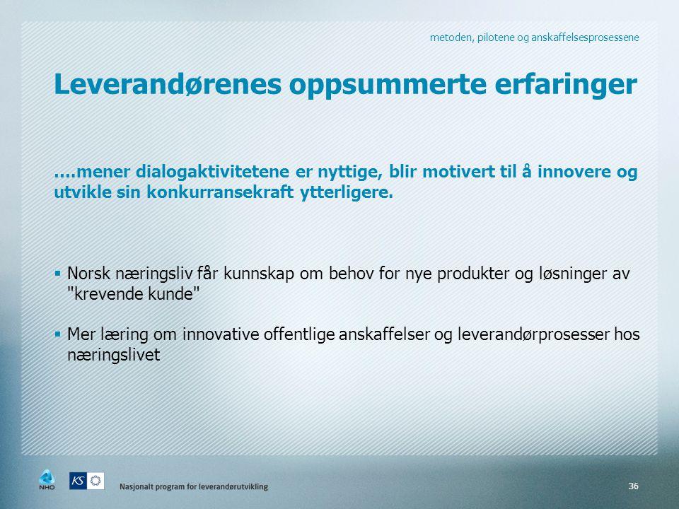 ….mener dialogaktivitetene er nyttige, blir motivert til å innovere og utvikle sin konkurransekraft ytterligere.  Norsk næringsliv får kunnskap om be