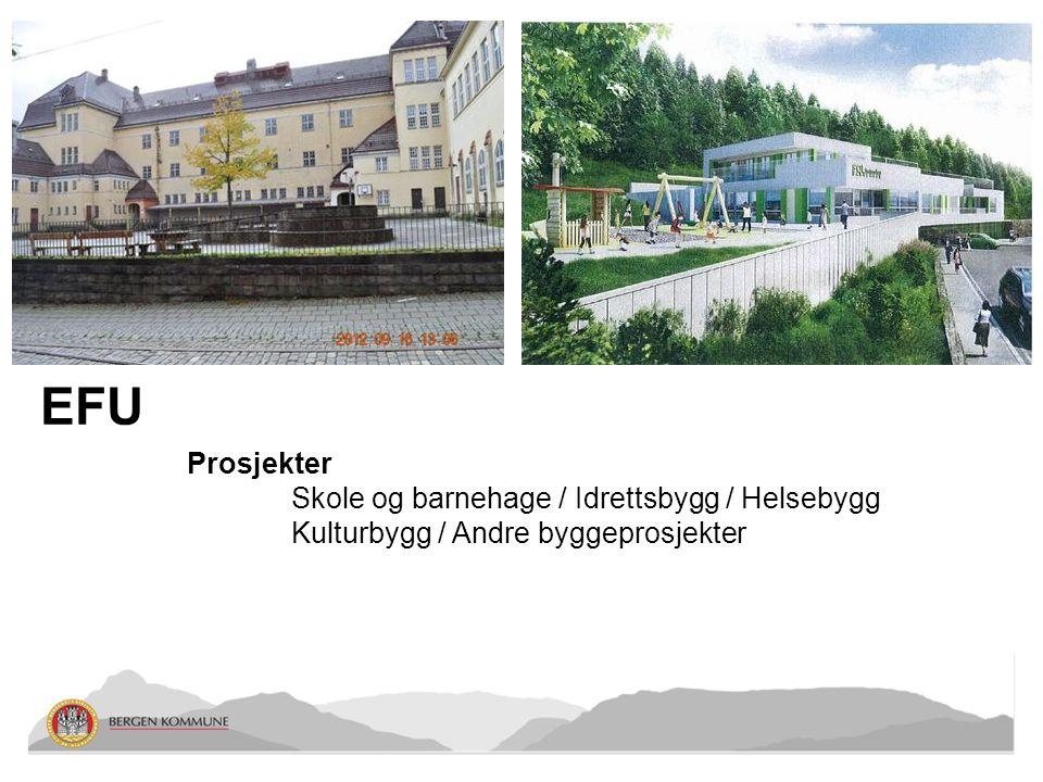 EFU Prosjekter Skole og barnehage / Idrettsbygg / Helsebygg Kulturbygg / Andre byggeprosjekter