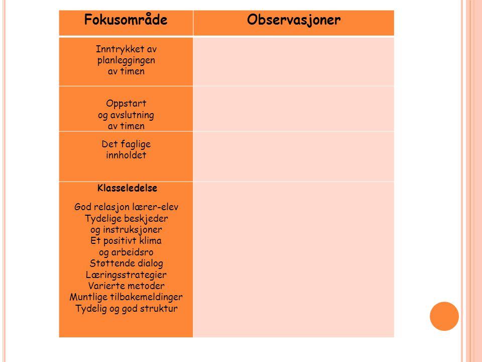 FokusområdeObservasjoner Inntrykket av planleggingen av timen Oppstart og avslutning av timen Det faglige innholdet Klasseledelse God relasjon lærer-e