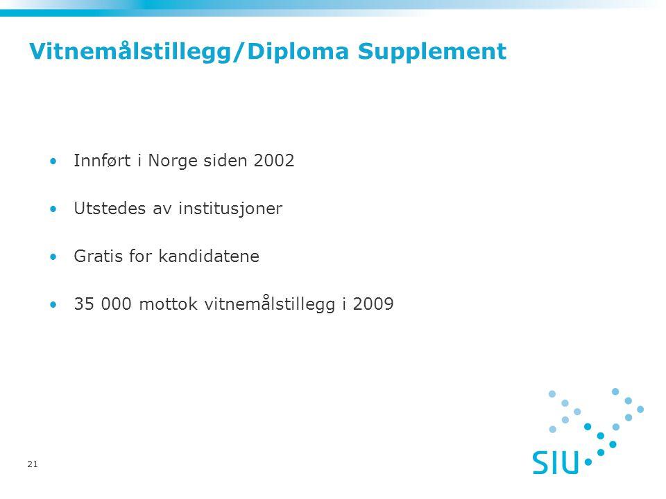 Vitnemålstillegg/Diploma Supplement •Innført i Norge siden 2002 •Utstedes av institusjoner •Gratis for kandidatene •35 000 mottok vitnemålstillegg i 2009 21