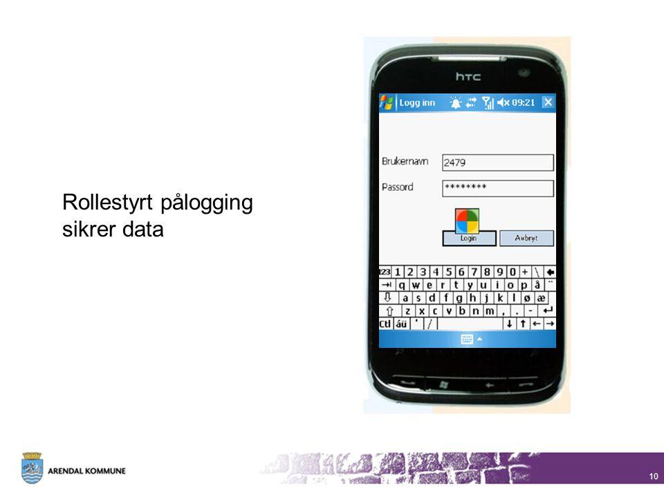 10 Rollestyrt pålogging sikrer data