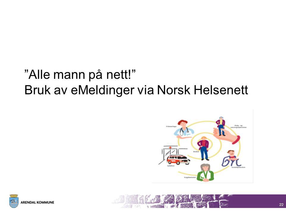 """""""Alle mann på nett!"""" Bruk av eMeldinger via Norsk Helsenett 22"""