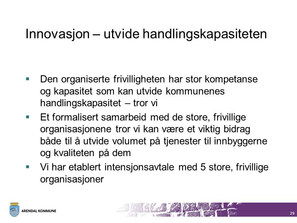 Innovasjon – utvide handlingskapasiteten  Den organiserte frivilligheten har stor kompetanse og kapasitet som kan utvide kommunenes handlingskapasite