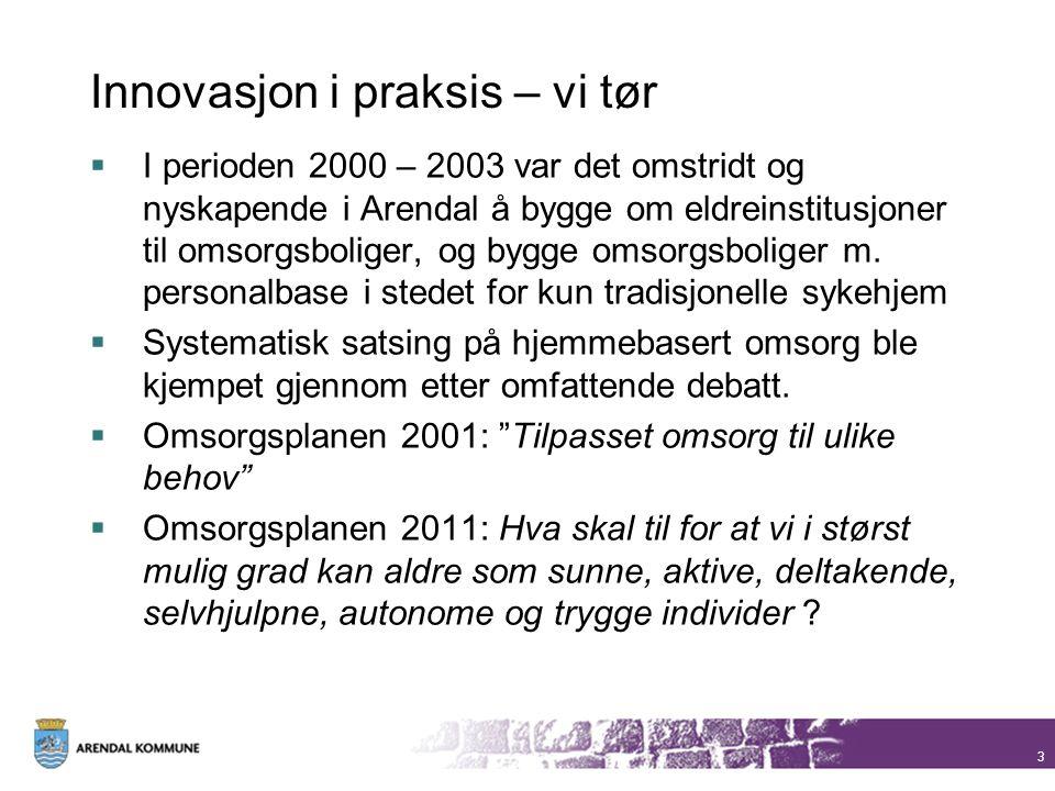 3 Innovasjon i praksis – vi tør  I perioden 2000 – 2003 var det omstridt og nyskapende i Arendal å bygge om eldreinstitusjoner til omsorgsboliger, og