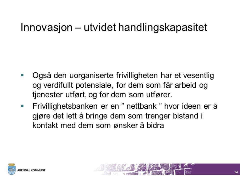 Innovasjon – utvidet handlingskapasitet  Også den uorganiserte frivilligheten har et vesentlig og verdifullt potensiale, for dem som får arbeid og tj