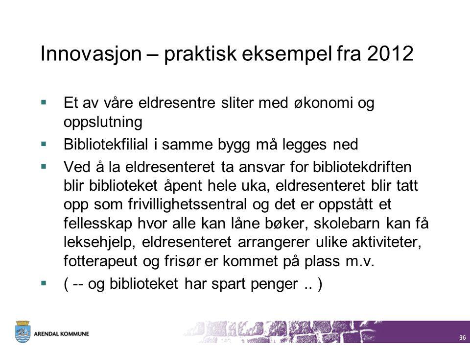 Innovasjon – praktisk eksempel fra 2012  Et av våre eldresentre sliter med økonomi og oppslutning  Bibliotekfilial i samme bygg må legges ned  Ved