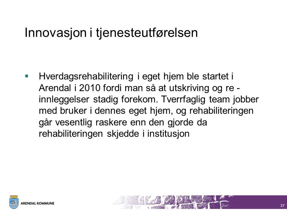 Innovasjon i tjenesteutførelsen  Hverdagsrehabilitering i eget hjem ble startet i Arendal i 2010 fordi man så at utskriving og re - innleggelser stad