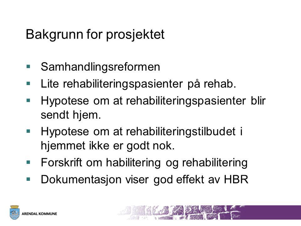 Bakgrunn for prosjektet  Samhandlingsreformen  Lite rehabiliteringspasienter på rehab.  Hypotese om at rehabiliteringspasienter blir sendt hjem. 
