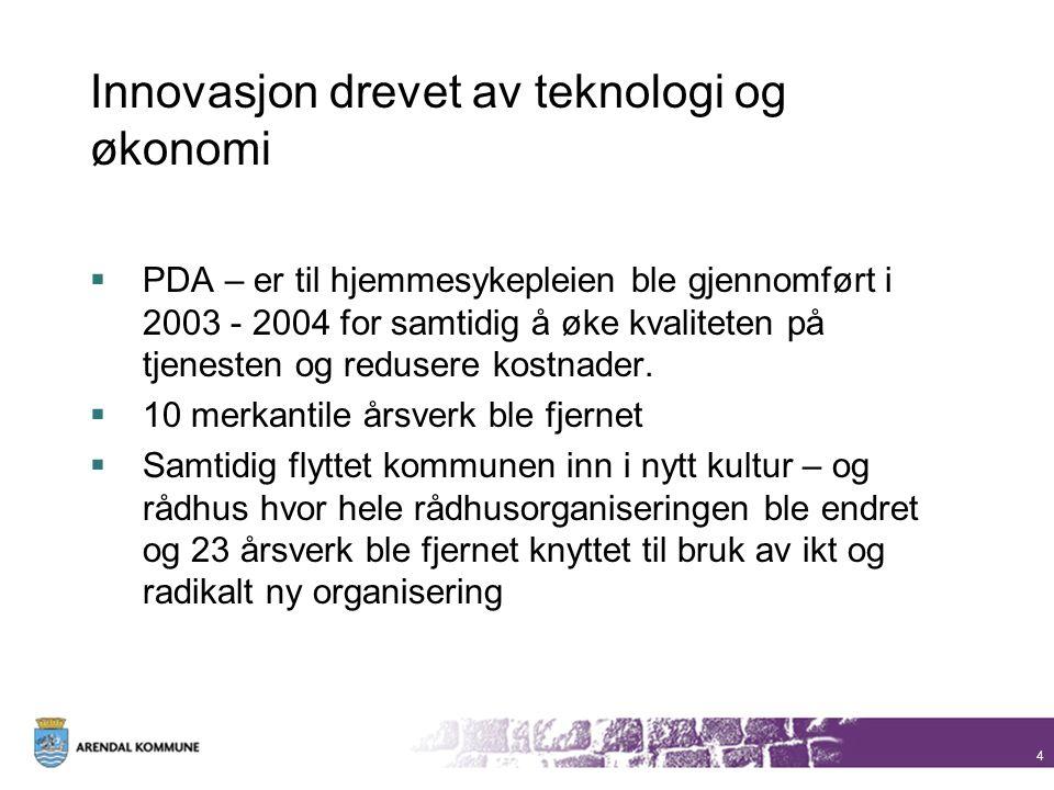 Innovasjon drevet av teknologi og økonomi  PDA – er til hjemmesykepleien ble gjennomført i 2003 - 2004 for samtidig å øke kvaliteten på tjenesten og