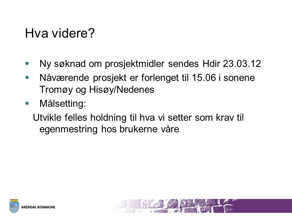 Hva videre?  Ny søknad om prosjektmidler sendes Hdir 23.03.12  Nåværende prosjekt er forlenget til 15.06 i sonene Tromøy og Hisøy/Nedenes  Målsetti