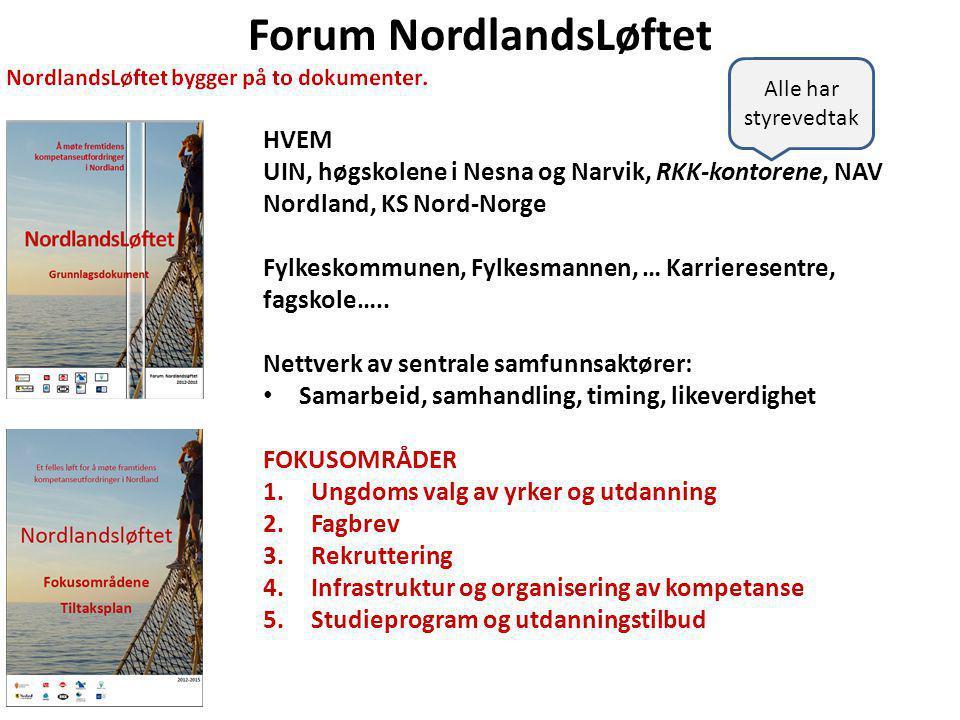 Forum NordlandsLøftet HVEM UIN, høgskolene i Nesna og Narvik, RKK-kontorene, NAV Nordland, KS Nord-Norge Fylkeskommunen, Fylkesmannen, … Karrieresentre, fagskole…..