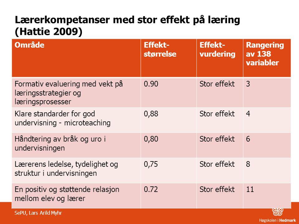 Lærerkompetanser med stor effekt på læring (Hattie 2009) SePU, Lars Arild Myhr OmrådeEffekt- størrelse Effekt- vurdering Rangering av 138 variabler Fo