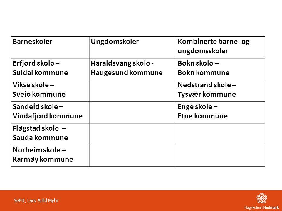 BarneskolerUngdomskolerKombinerte barne- og ungdomsskoler Erfjord skole – Suldal kommune Haraldsvang skole - Haugesund kommune Bokn skole – Bokn kommu