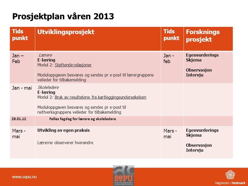 Prosjektplan våren 2013 Tids punkt Utviklingsprosjekt Tids punkt Forsknings prosjekt Jan – Feb Lærere E-læring Modul 2: Støttende relasjoner Moduloppg