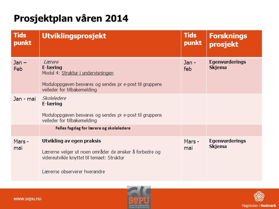 Prosjektplan våren 2014 Tids punkt Utviklingsprosjekt Tids punkt Forsknings prosjekt Jan – Feb Lærere E-læring Modul 4: Struktur i undervisningen Modu