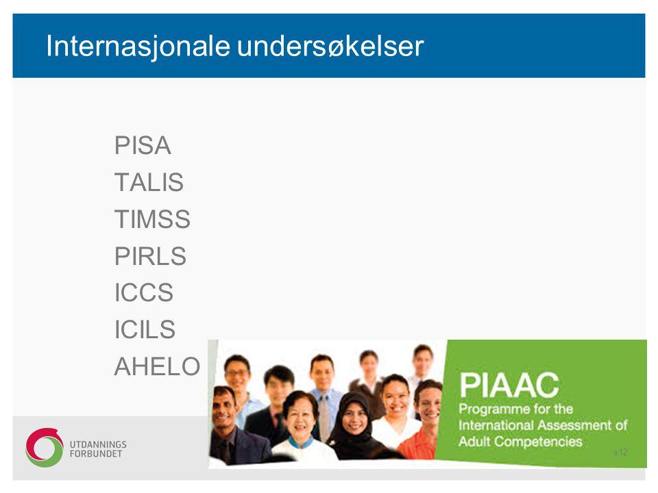 Internasjonale undersøkelser PISA TALIS TIMSS PIRLS ICCS ICILS AHELO s12