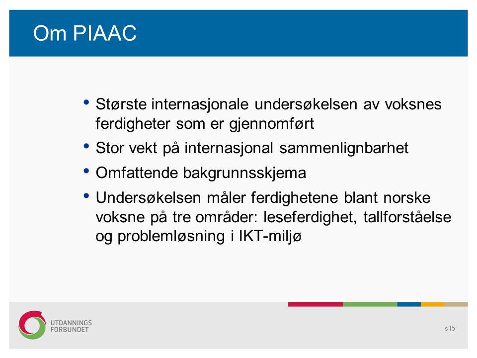 Om PIAAC • Største internasjonale undersøkelsen av voksnes ferdigheter som er gjennomført • Stor vekt på internasjonal sammenlignbarhet • Omfattende b